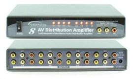 composite video and analog stereo audio distribution amplifier rca 8 port